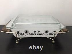 Vintage Pyrex 575 Black Rooster Space saver With Lid & Cradle 1950s FREE SHIPPING