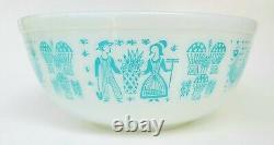 Vintage Pyrex Amish Butterprint Farm 404 Mixing Bowl 4 QT Blue on White RARE