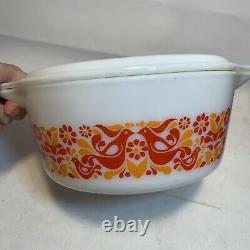 Vintage Pyrex Casserole Friendship Bowl White Lid 2.5 Quart Red Birds 475-B