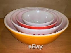 Vintage Pyrex Friendship Birds Nesting Mixing Bowls SET OF 4 Orange / Red