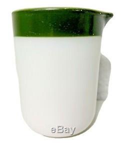 Vintage Pyrex Green Stripe Mini Personal Creamer Corning Man Blowing Horn RARE