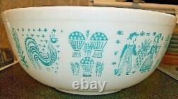 Vintage Pyrex Hard To Find 404 Bowl Amish Butterprint Turquoise/ White 1957-1968