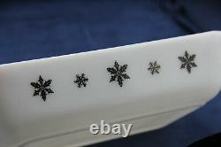 Vintage Pyrex JAJ GAIETY SNOWFLAKE Deep Space Saver 575 Casserole w Lid/Cradle