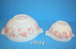 Vintage Pyrex PINK GOOSEBERRY Cinderella Bowl Set Complete 4 Bowl Set