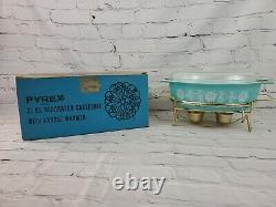 Vintage Pyrex PROMO 1957 Turquoise White Lace Medallion 2 1/2 Quart With Lid & Box