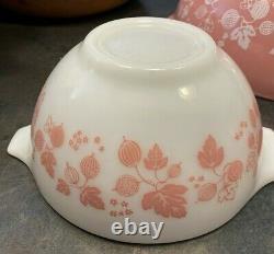Vintage Pyrex Pink Gooseberry Cinderella Mixing Bowls Oven Ware Complete Set