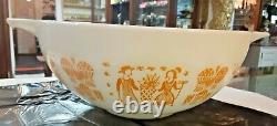 Vintage Pyrex Pumpkin Orange Amish Butterprint #444 Cinderella Bowl 4 QT