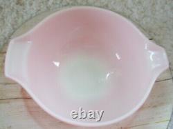 Vintage Pyrex Set Of 4 Gooseberry Pink & White Cinderella Nesting Mixing Bowls