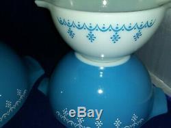 Vintage Pyrex Snowflake Garland Cinderella Nesting Mixing Bowls 444 443 442 441