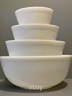 Vintage Pyrex True Opal Solid White Unmarked Nesting Mixing Bowl Complete Set