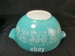 Vintage Pyrex Turquoise BUTTERPRINT 4 Pc Nesting Cinderella Mixing Bowls Amish