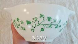 Vintage Pyrex White Green Ivy Chip & Dip Cinderella Bowls 441 444 Mint Orig. Box