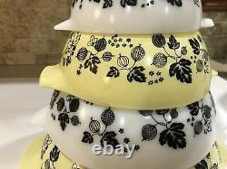 Vintage Pyrex Yellow, Black & White Gooseberry 4 pc Cinderella Nesting Bowl Set