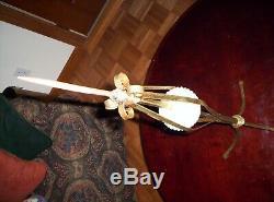 Vintage RARE BRASS & IRON Lightning Rod White Milk Glass Lighting Rod