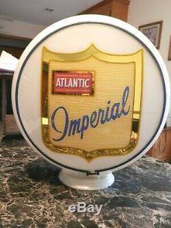 Vintage Rare Original Near Mint Atlantic Imperial Gas Pump Gill Milkglass Globe