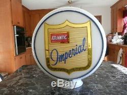 Vintage Rare Original Near Mint Atlantic Imperial Milkglass Gas Pump Globe