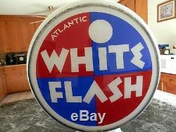 Vintage Rare Original Near Mint Atlantic White Flash Gas Pump Milkglass Globe