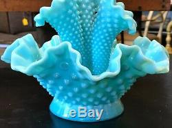 Vintage Rare Turquoise Fenton Milk Glass Hobnail Epergne Vase
