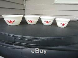 Vintage Red Ships Sail Boat Mixing Bowl Set