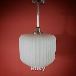 Vintage Reeded Opaline Milk Glass Modernist Cube Pendant Ceiling Light