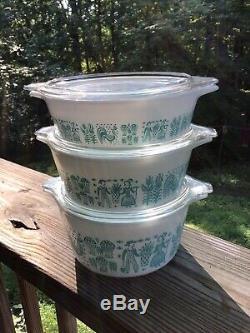 Vintage Retro Pyrex Blue White Amish Butterprint Casserole Set with Lids SHIPSFREE