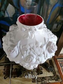Vintage Rose Fenton Milk Glass Hurricane Gone With The Wind Lamp Pink interior