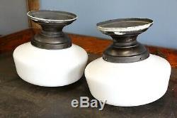 Vintage School House Light Fixtures industrial milk glass globe kitchen hall 2