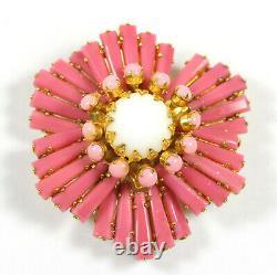Vintage Schreiner Pink & White Milk Glass Rhinestone Ruffle Brooch Round Center