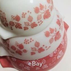 Vintage Set 3 Pyrex Pink Cinderella Gooseberry 444 443 441 Mixing Nesting Bowls