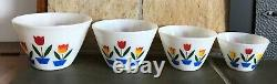 Vintage Set Of Four Fire King Tulip Splash Proof Nesting Mixing Bowls Nice