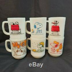 Vintage Set of 6 Fire King Milk Glass SNOOPY PEANUTS Coffee Mugs Red Baron +