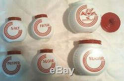 Vintage Set of 6 Milk GLASS RANGE TOP SHAKERS, Art Deco, Red And White