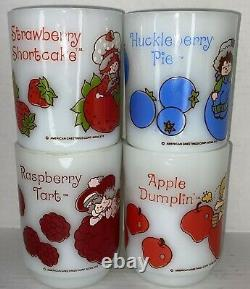 Vintage Strawberry Shortcake Milk Glass Mug Set of 4 1980's American Greetings