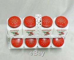Vintage Tipp City Milk Glass Spice Shaker Set With Cherries Tilt Rack Excellent