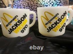 Vintage Unused Fire King Milk Glass Mcdonalds Pair Mugs Cup Advertising