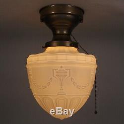 Vintage Victorian Art Deco Milk Glass 9 Globe Shade Flush Ceiling Light Fixture