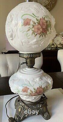 Vintage Victorian Lamp White Milk Glass Embossed Roses Floral Roses 20 Tall