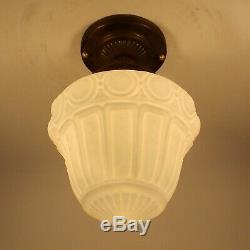Vintage Victorian Satin Milk Glass Globe Brass Ceiling Light Fixture Foyer Hall