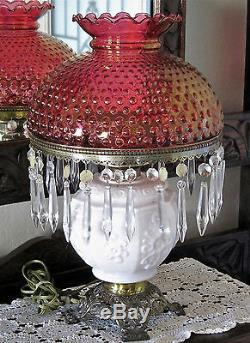 Vintage Victorian milk glass with ruby hobnail Fenton lamp with prisms