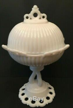 Vintage Westmoreland Glass Milk Glass Covered Footed Compote Candy Dish Doric