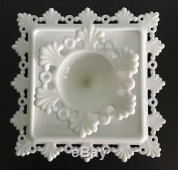 Vintage Westmoreland Ring & Petal Milk Glass Square Cake Plate Stand 1960s