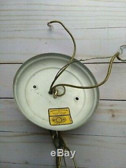 Vintage White Hobnail Milk Glass Globe Lamp 5 Light Chandelier Farmhouse Shabby