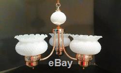 Vintage White Hobnail Milk Glass Globe Lamp Chandelier Ceiling Light Fixture