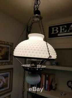 Vintage White Hobnail Milk Glass Hurricane Globe Hanging Lamp Electric