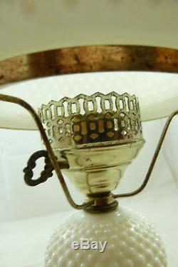 Vintage White Hobnail Milk Glass Lamp Large Globe Hurricane Table Light Shade