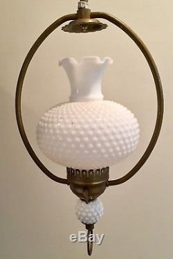 Vintage White Hobnail Wall Lamp Swing Arm Brass Weighted Pendulum Milk Glass
