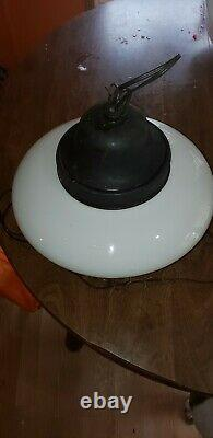 Vintage White Milk Glass Art Deco Schoolhouse Shade Globe Ceiling Light Fixture