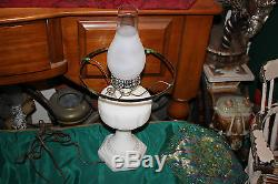 Vintage White Milk Glass GWTW Hurricane Table Lamp WithAmerican Eagle Shade-Large