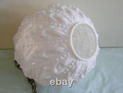 Vintage White Milk Glass Globe Swag Hanging Light Mid Century Lamp