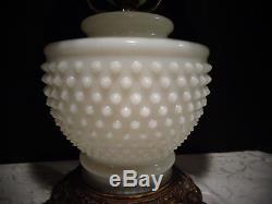 Vintage White Milk Glass Hobnail GWTW Hurricane Table Lamp Electric 21 Fenton